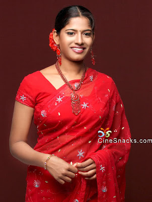 Meenal in red embroidery saree