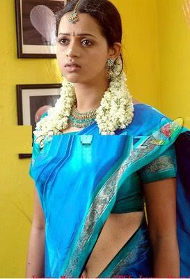 Bhavana in blue Silk Saree