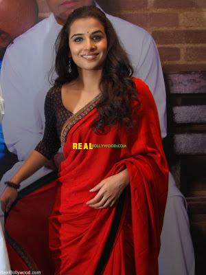 Vidya Balan in Red Colour Saree at PAA Movie press conference
