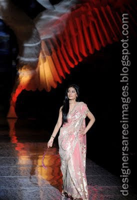 Amrita Rao walks the ramp in pink designer saree