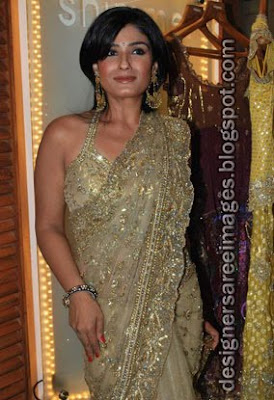 Raveena Tandon in golden Designer Saree at the Launch of Fashion Store