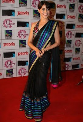 South Indian Actress in Black Saree Photos Genelia