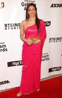 Actress Tabu in Pink Designer saree with Halter neck Designer blouse
