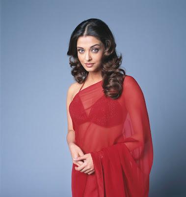 Aishwarya Rai in Plain Red Transparent Saree and bikini style blouse