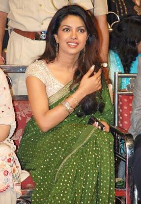 Priyanka Chopra in Green Designer Saree