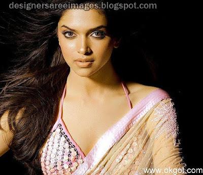 Deepika Padukone in Bikini Style Designer Sari Blouse