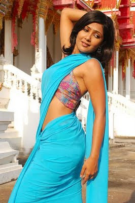 Kamalini Mukherjee in Blue Saree  http://designersareeimages.blogspot.com/