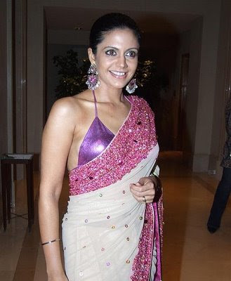 Mandira Bedi in Designer Saree with backless bikini saree blouse