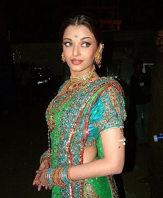 Aishwarya Rai in heavy work designer saree and work blouse.