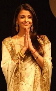 Aishwarya Rai looks gorgeous in white designer saree.