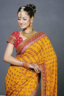 Yellow Saree with Designer red blouse