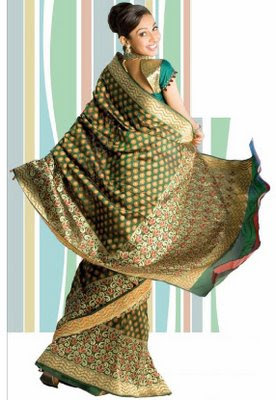 Green Banaras Georgette Saree
