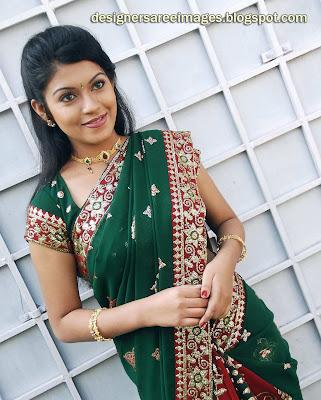 Tollywood Actress Prathishta in Green Designer Saree
