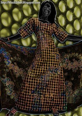 Fashion Model Posing in Printed Kaftan Dress