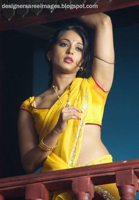 Actress Anushka Shetty Sexy in Yellow Work Saree