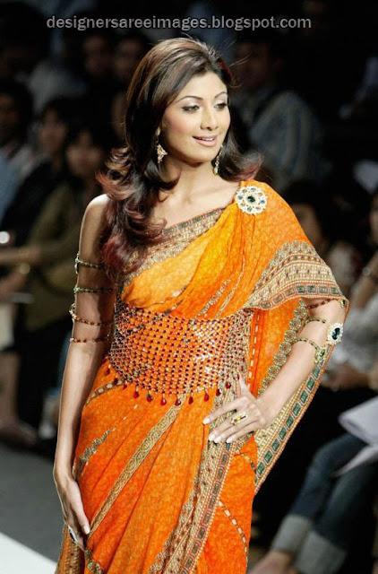 Shilpa Shetty in Yellow Designer Saree at a Fashion Show