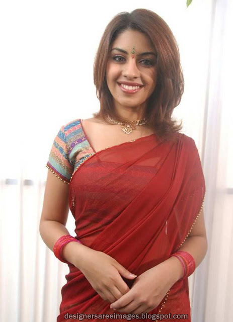 Richa Gangopadhyay in Plain Red Saree with Designer Sari Blouse