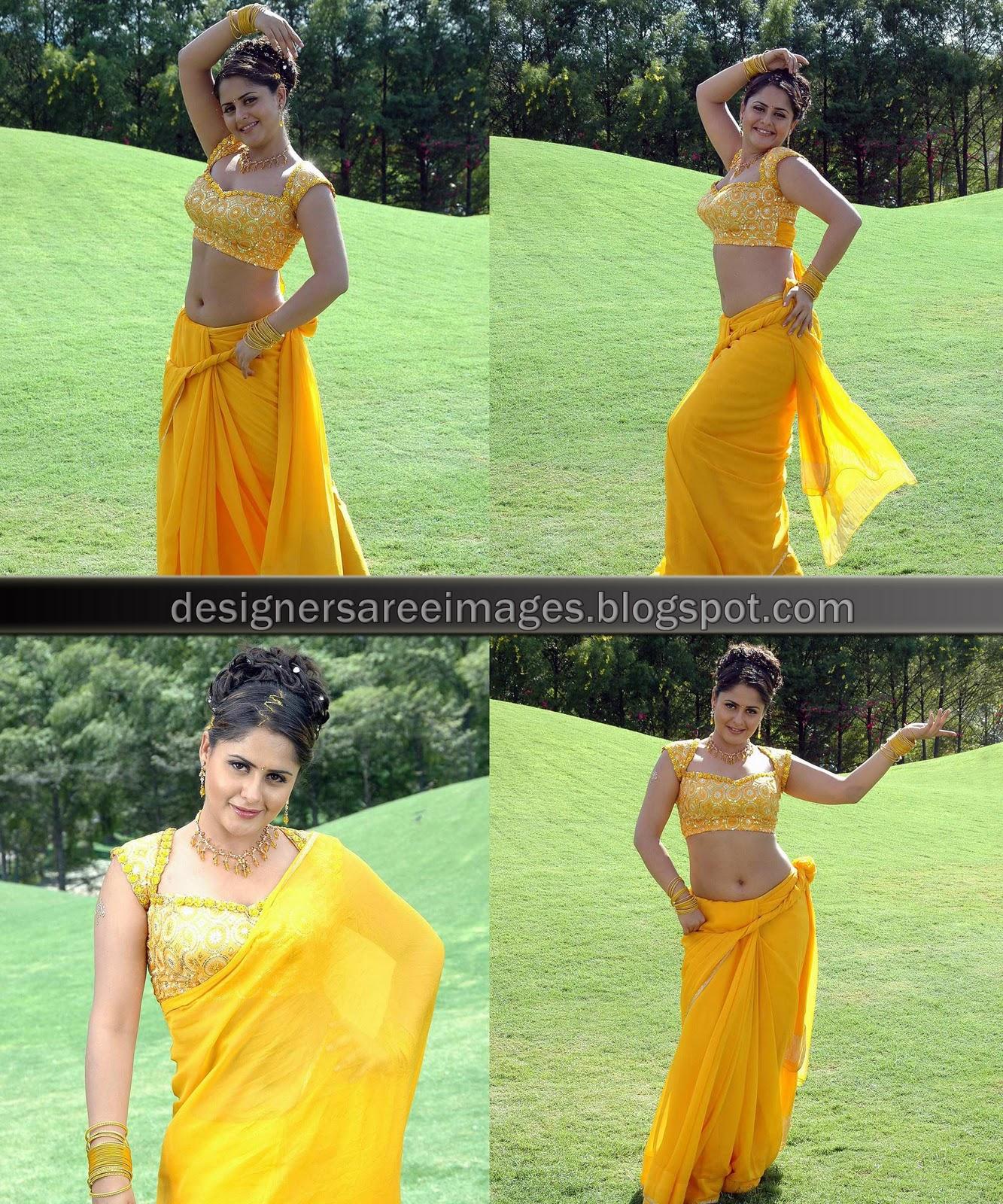 Farzana in Yellow Saree and Designer Saree Blouse
