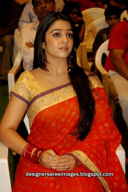 Actress Charmi in Red Designer Saree image