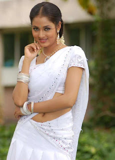 South Actress Vidisha in White Designer Saree