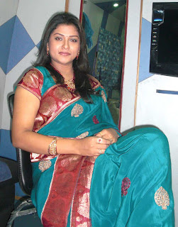 Tollywood Actress Jyothi in Blue color Crepe Silk Saree