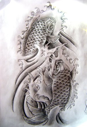 This is a japanese koi fish tattoo T-shirt.3 white letters say RYURAKUDO.