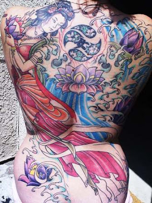 beautiful japanese girl back tattoo