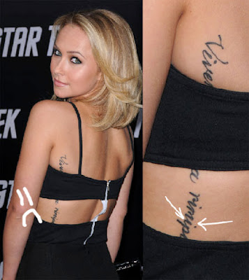orlando bloom tattoo arm. hayden panettiere tattoo arm.