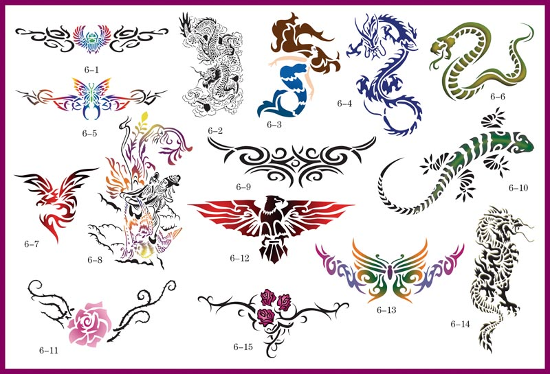 Air Brush Tattoo Stencil Sheet