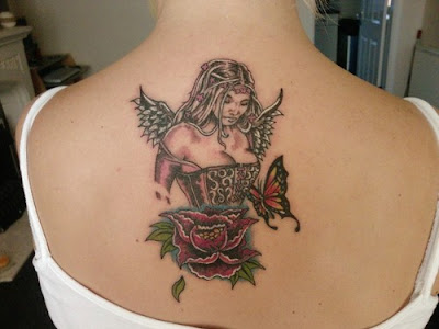 Back Tattoos Design for girls with angel, butterfly and flower tattoos