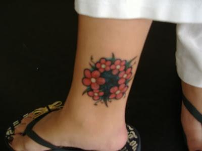Flower Ankle Tatoos