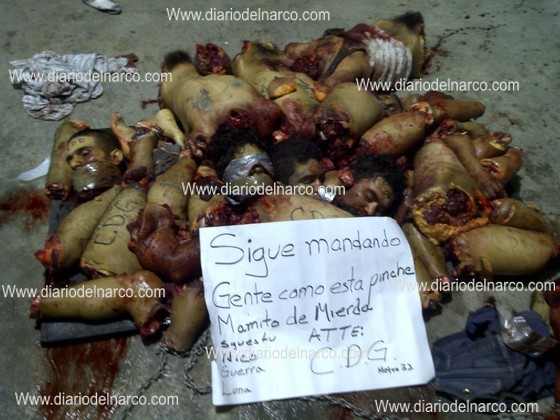 that shows a pile of dismembered bodies  victims of the gulf cartelZetas Cartel Victims