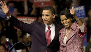 Obama con su mujer Michelle