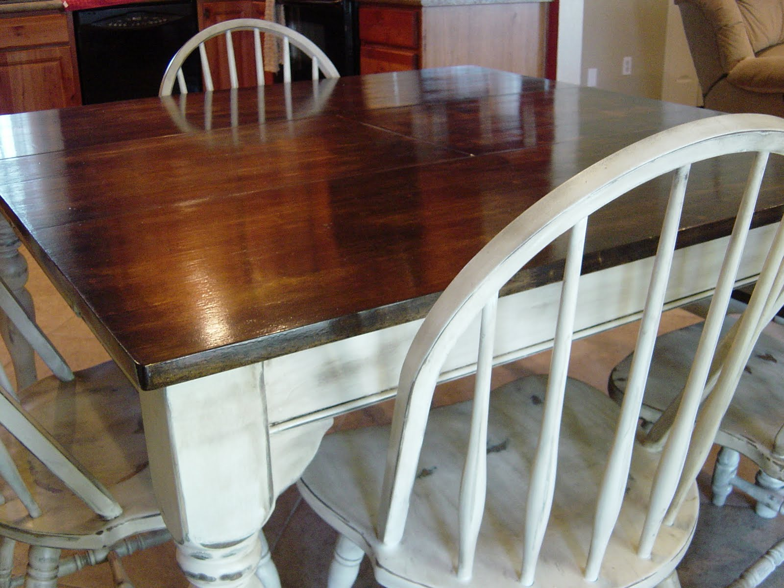 Remodelaholic Kitchen Table Refinished With Distressed Look. Full resolution‎  portraiture, nominally Width 1600 Height 1200 pixels, portraiture with #673A24.