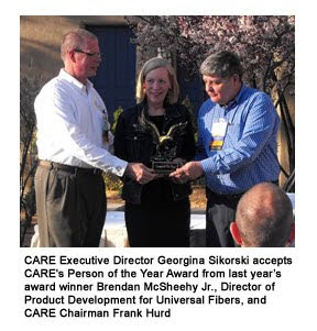 CARE Person of the Year Award Winner Georgina Sikorski with Brendan McSheehy Jr. and Frank Hurd