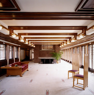 Frank Lloyd Wright's Robie House, carpeted living room