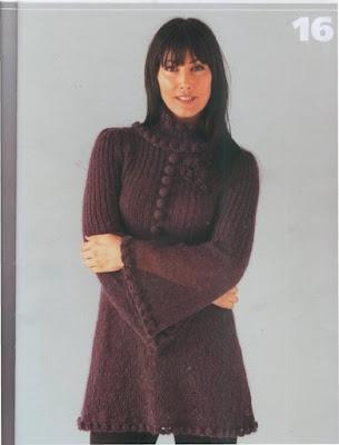 Модное платье-туника связано спицами 4.Схема вязания.