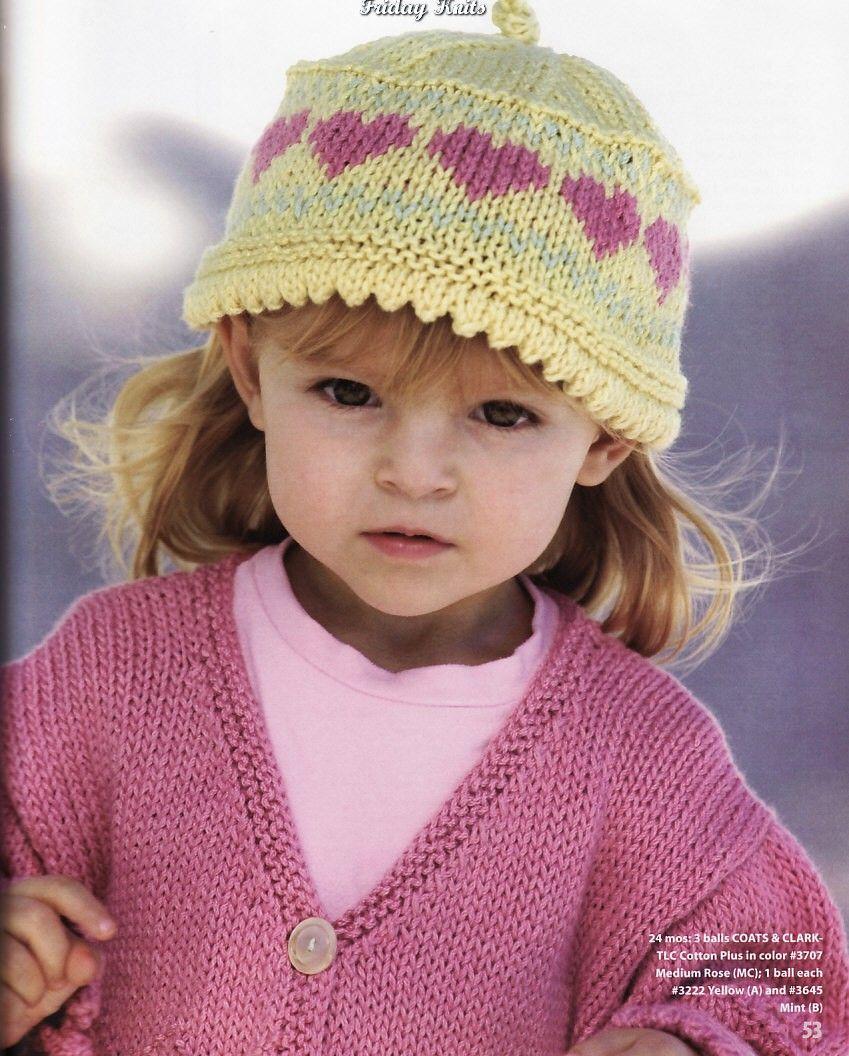 шапка с сердечками спицами схема