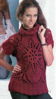 Пуловер Пряный цветок. Вязание спицами