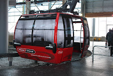 The gondola. Whistler Peak to Blackcomb Peak.