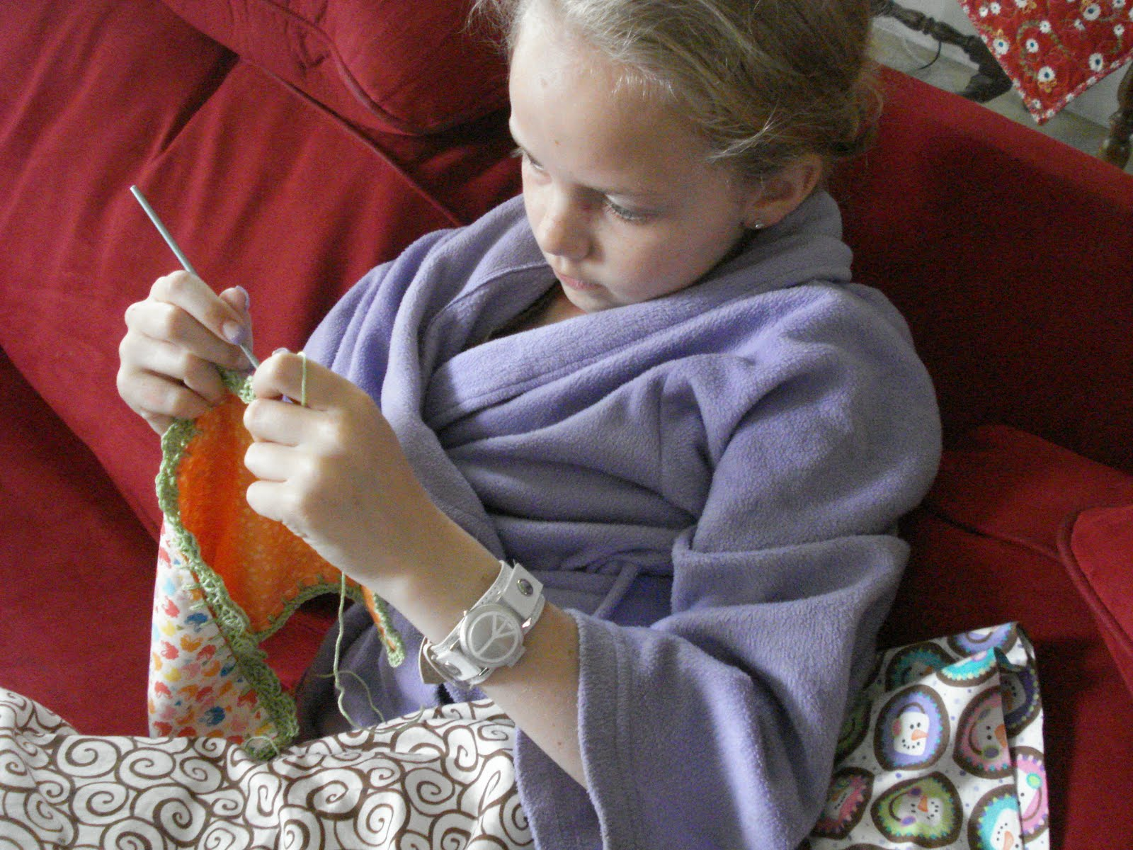 Crocheting Too Tightly : ... ... concentrating on her stitch count and not pulling too tightly