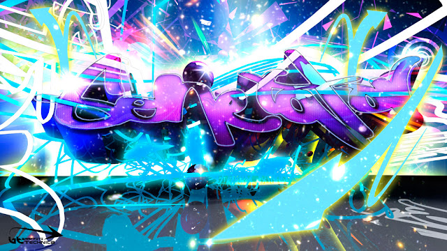 3D violet graffiti wallpaper