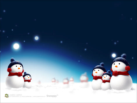 Cute snowman family christmas wallpaper