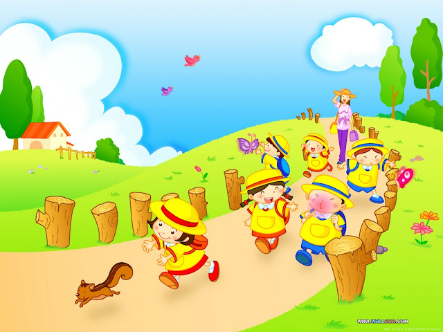 Cartoon wallpaper kindergarten