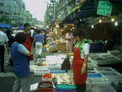 traditional Korean market, two blocks long