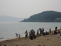 Haeundae Beach, looking south--note lighthouse at point