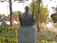 Statue of Pope Jean Paul II, who visited in 1984, to mark 200 years of Korean Catholicism