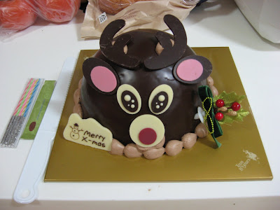 Reindeer choco cake from Tous les Jours--all such cakes seem to come with a plastic knife, a pack of candles and a couple matches