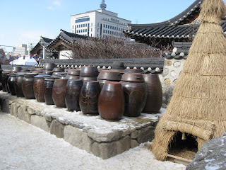 Hanok Village, kimchi pots in courtyard