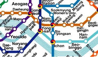 Yeouido to Itaewon, line 5 to line 6